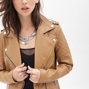 Forever 21 Faux Vegan Leather Quilted Tan Jacket